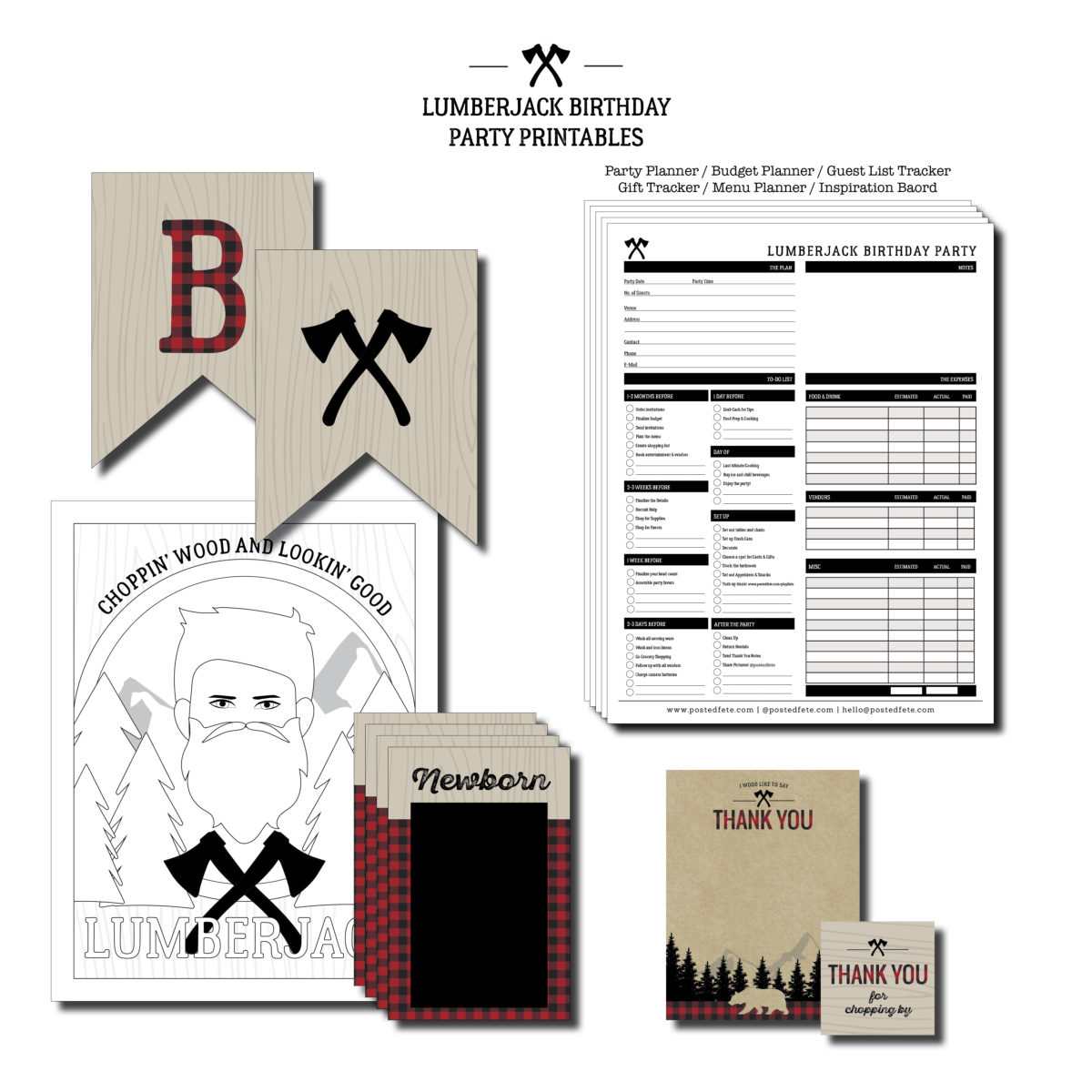 Lumberjack birthday party printables | by Posted Fete