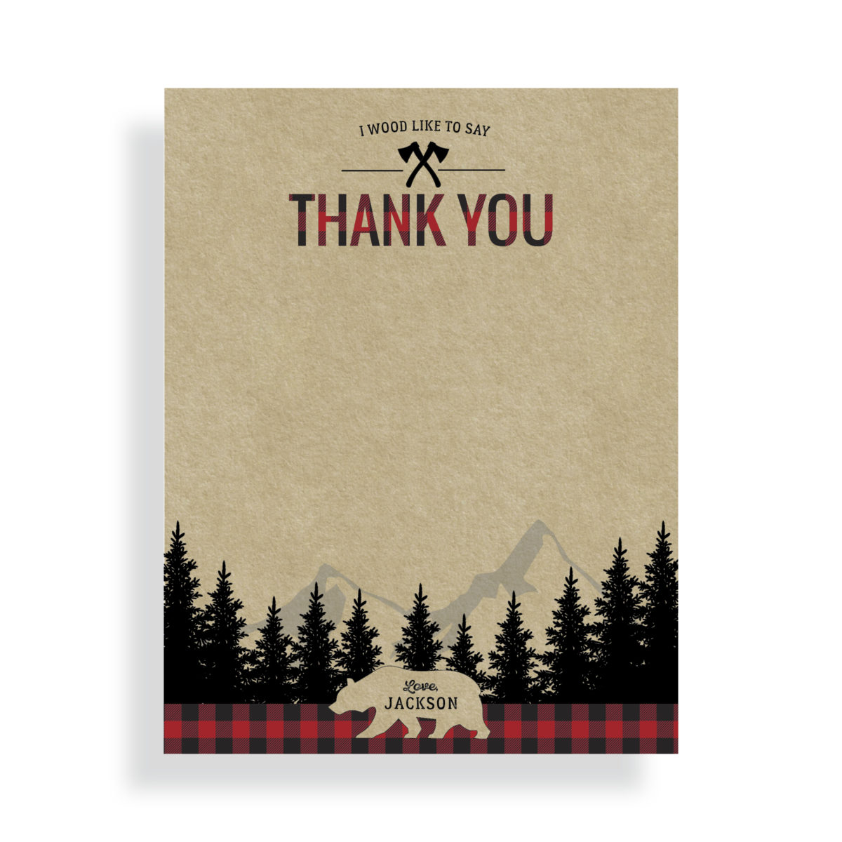 Lumberjack Thank You Card | by Posted Fete