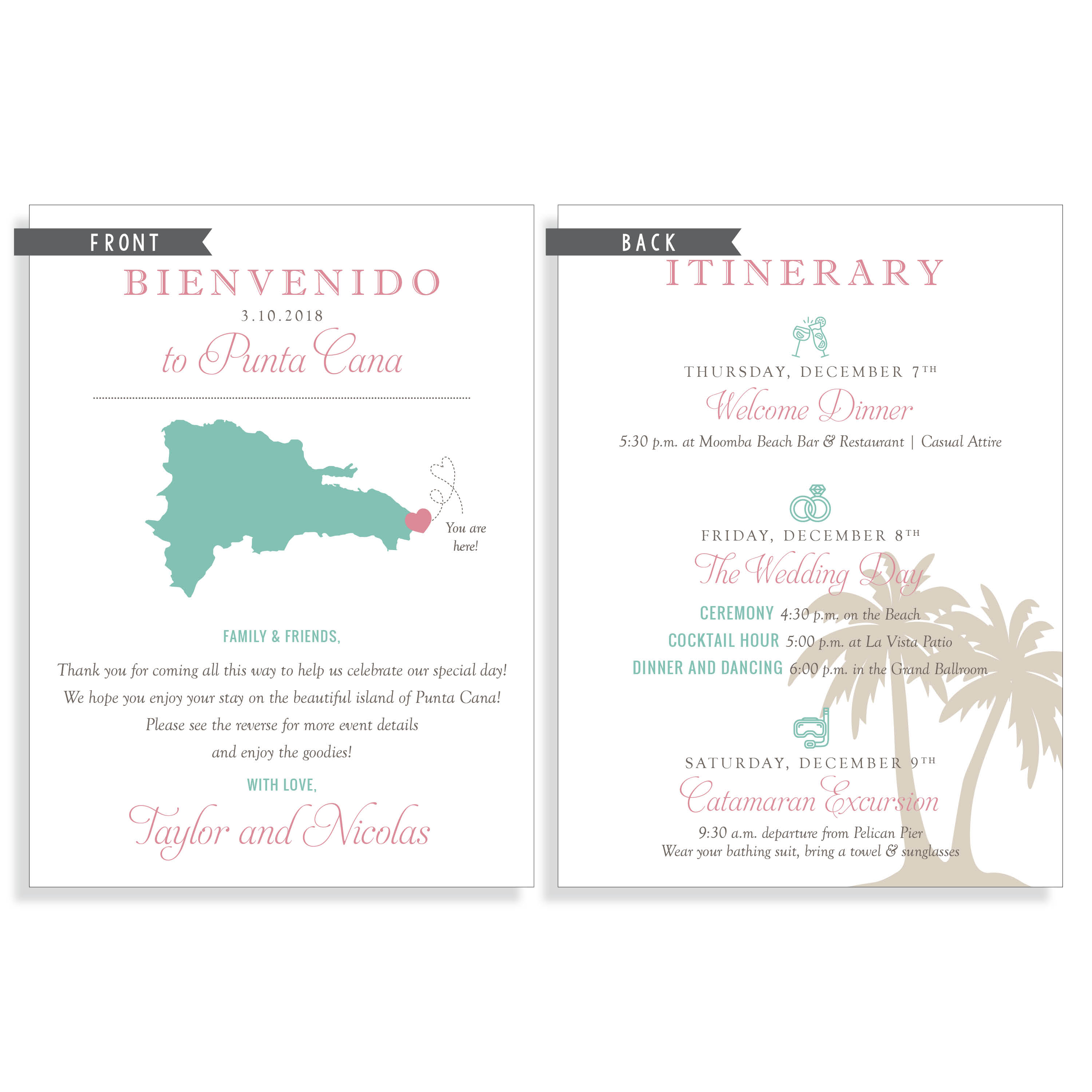 Destination Wedding Welcome Note and Itinerary | Posted Fete