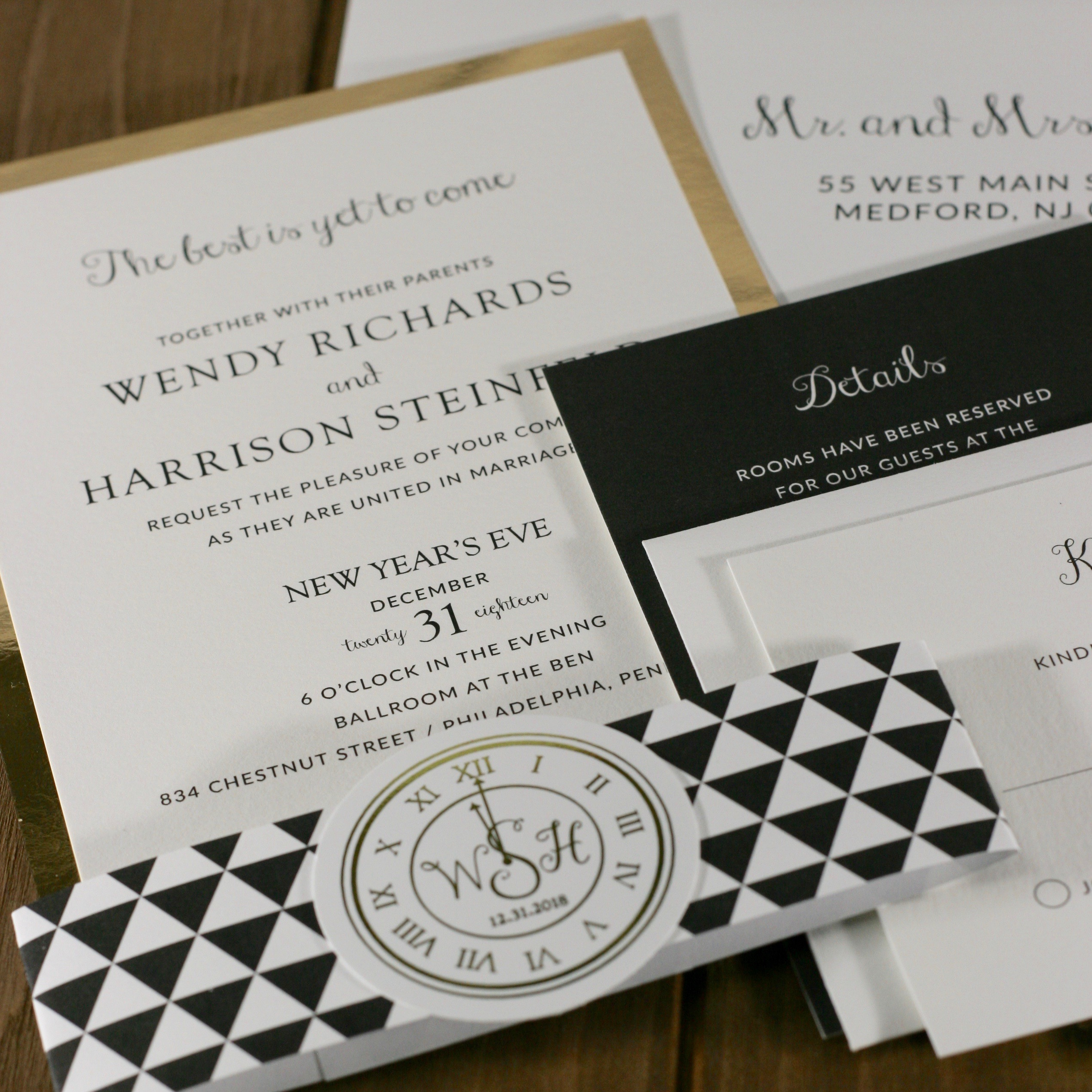 new years eve wedding invitation posted fete