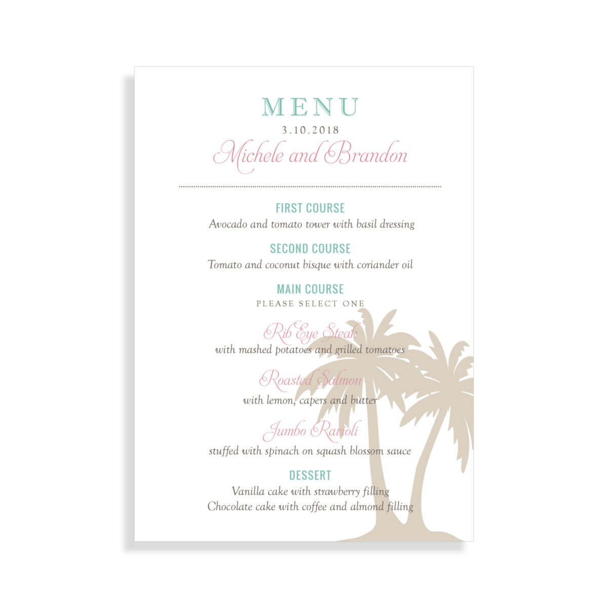 Destination Wedding Menu for Beach Wedding - Features Palm Tree | By Posted Fete