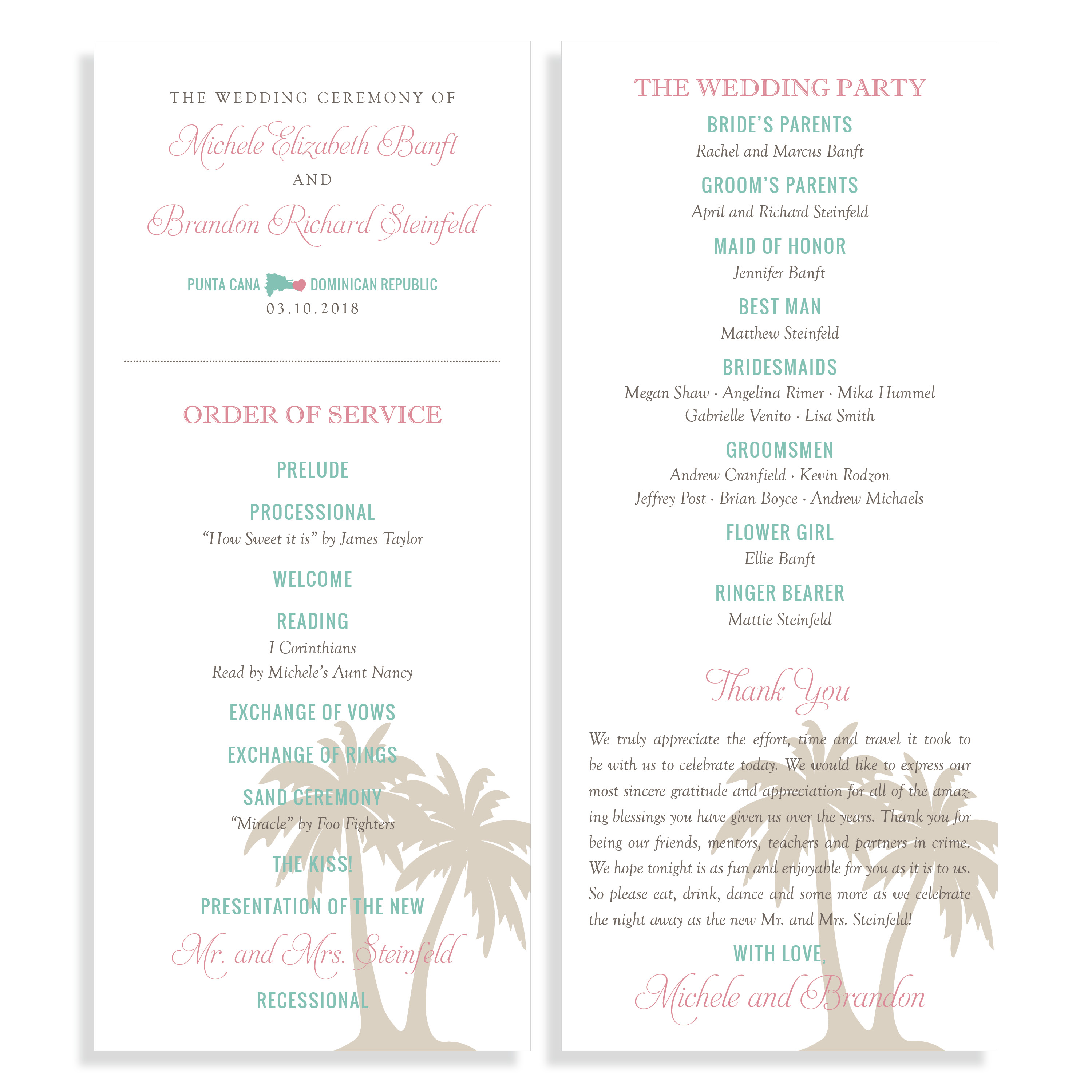 Destination Wedding Program With Map And Palm Tree Graphic