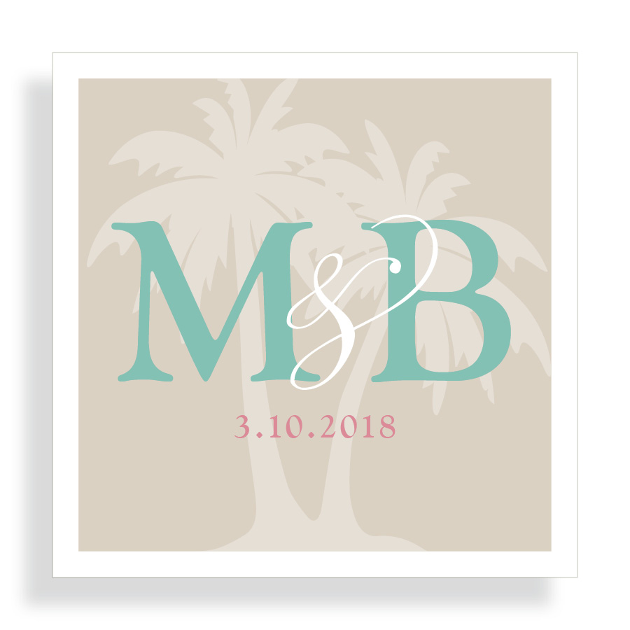 Beach Wedding Thank you Sticker with Palm Tree Monogram   By Posted Fete