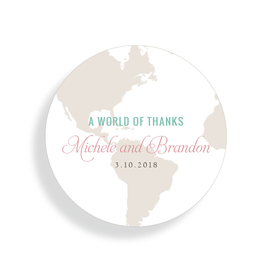 A World of Thanks Wedding Favor Sticker for Destination Wedding   By Posted Fete