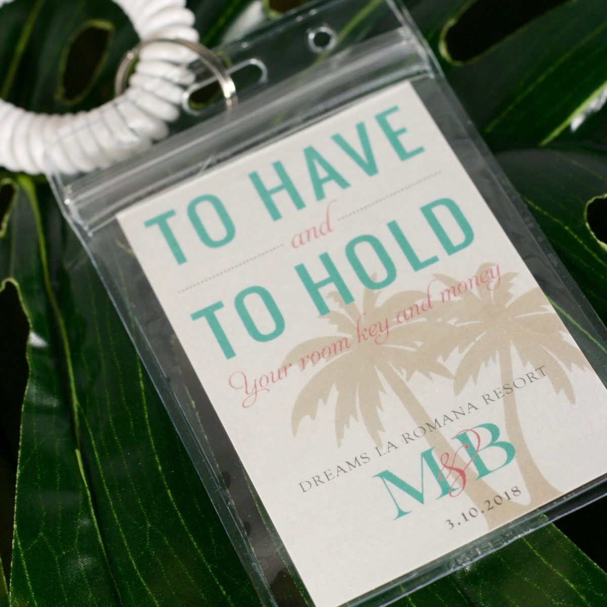 To have and to hold your room key and money for your destination welcome bag   By Posted Fete #DestinationWedding #BeachWedding #WelcomeBag