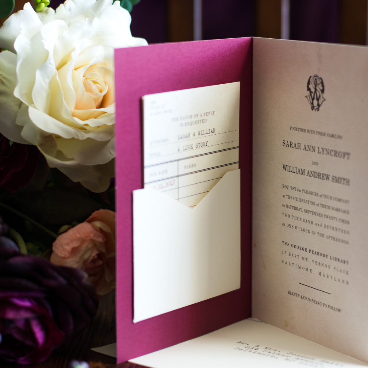 Storybook Wedding Invitation for Literary Wedding | By Posted Fete | #Wedding #LiteraryWedding #ALoveStory #LiteraryTheme