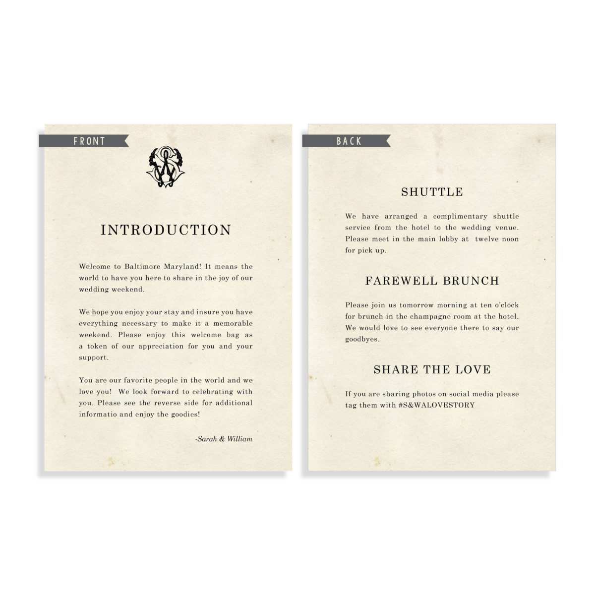 Literary Wedding Welcome Note | #LiteraryWedding #VintageWedding