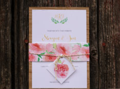 Spring Peony Flower Wood Wedding Invitation Suite | Photo Credit: Shelli Quattlebaum Photography | Invitation by Posted Fete