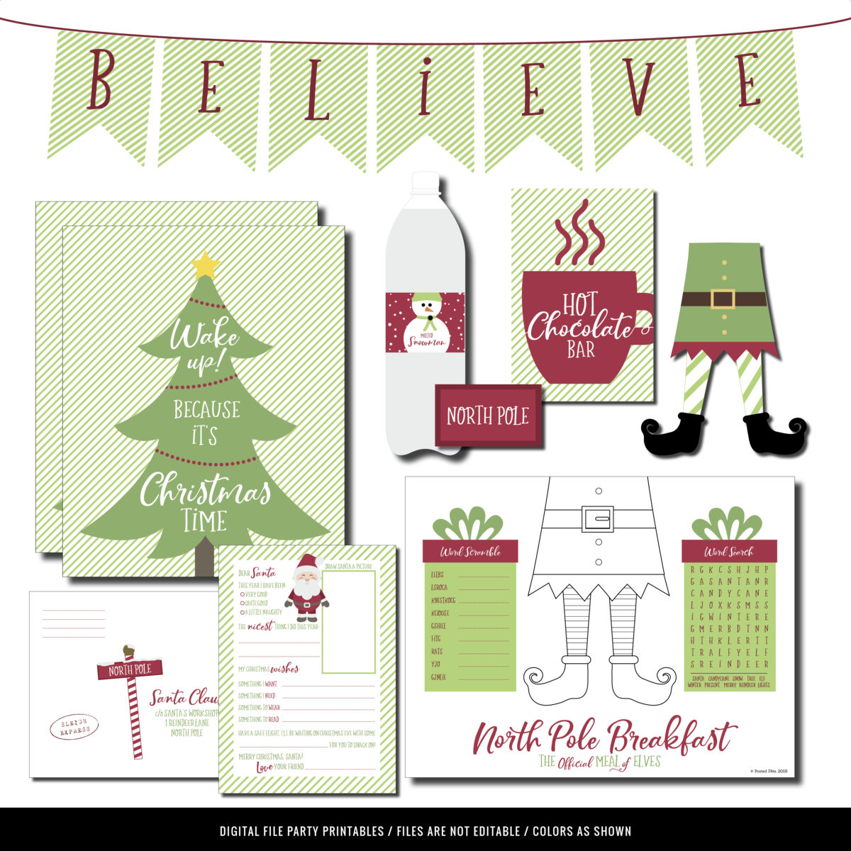 Letter to Santa and Decorations for North Pole Elf Breakfast Printables | Breakfast with Santa Printables
