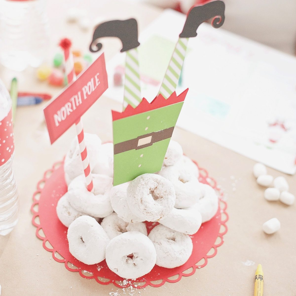 Elf Legs and North Pole Sign Post Cake Topper for Elf Breakfast
