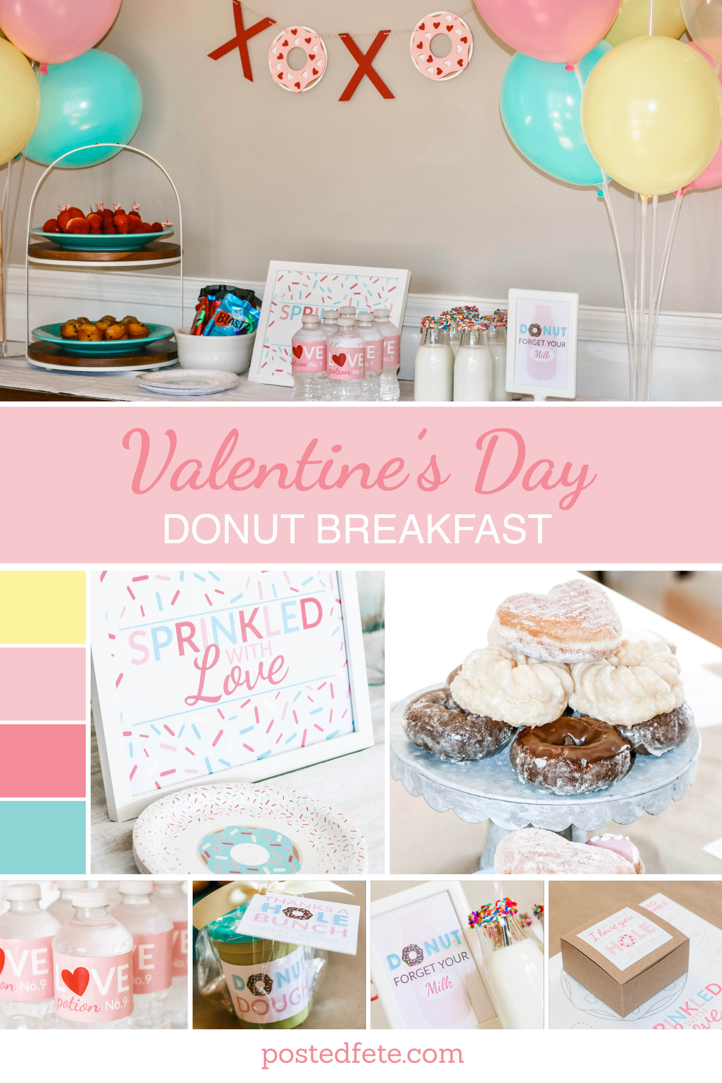 Sprinkled with Love Valentine's Day Donut Breakfast for Kids. Valentine's Day Birthday Party or Playdate with Friends | by Posted Fete