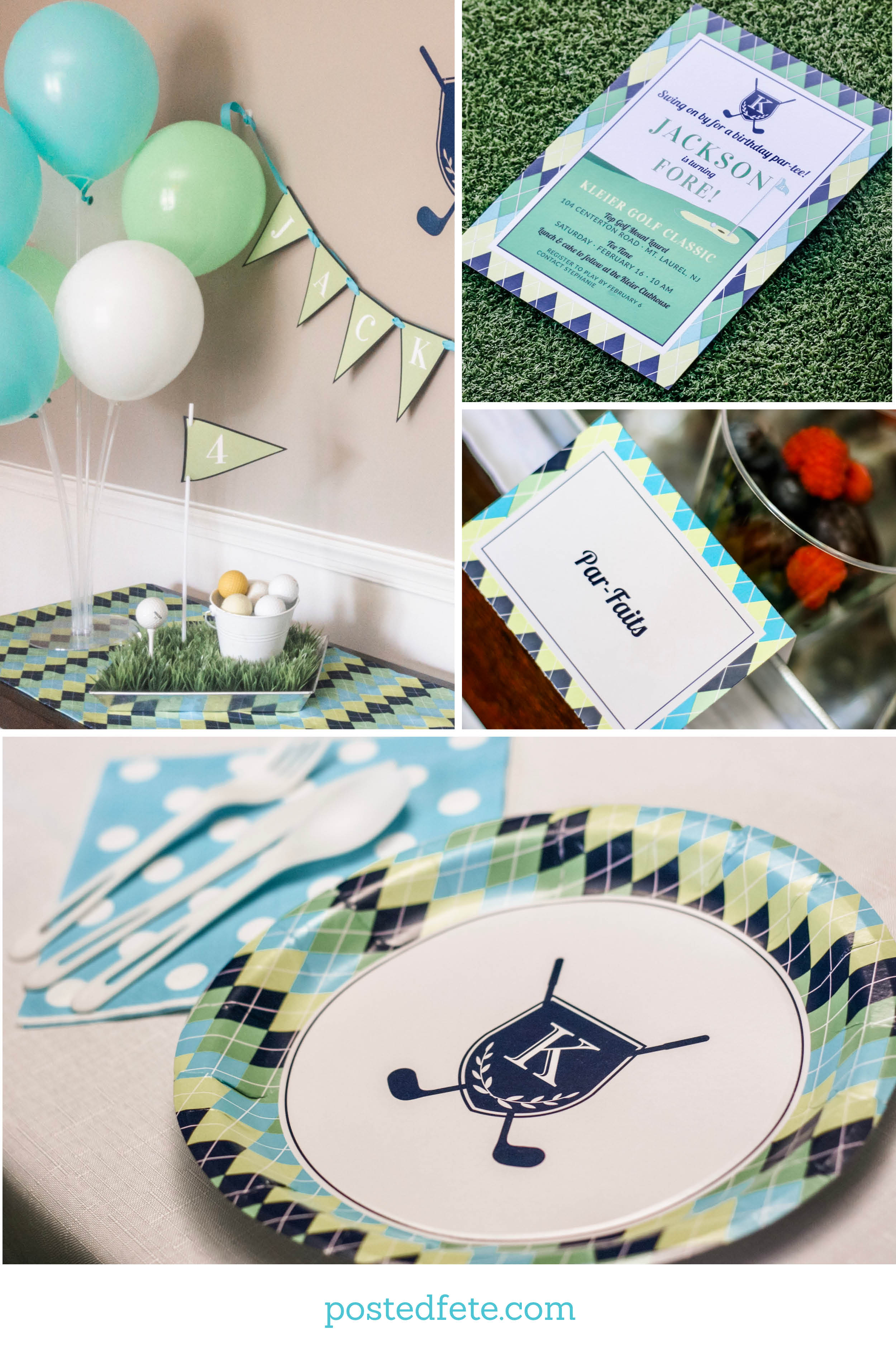 Golf Birthday Party Ideas | Golf Theme Blue, Green and Aqua Argyle Decorations and Stationery  | By Posted Fete | #GolfParty