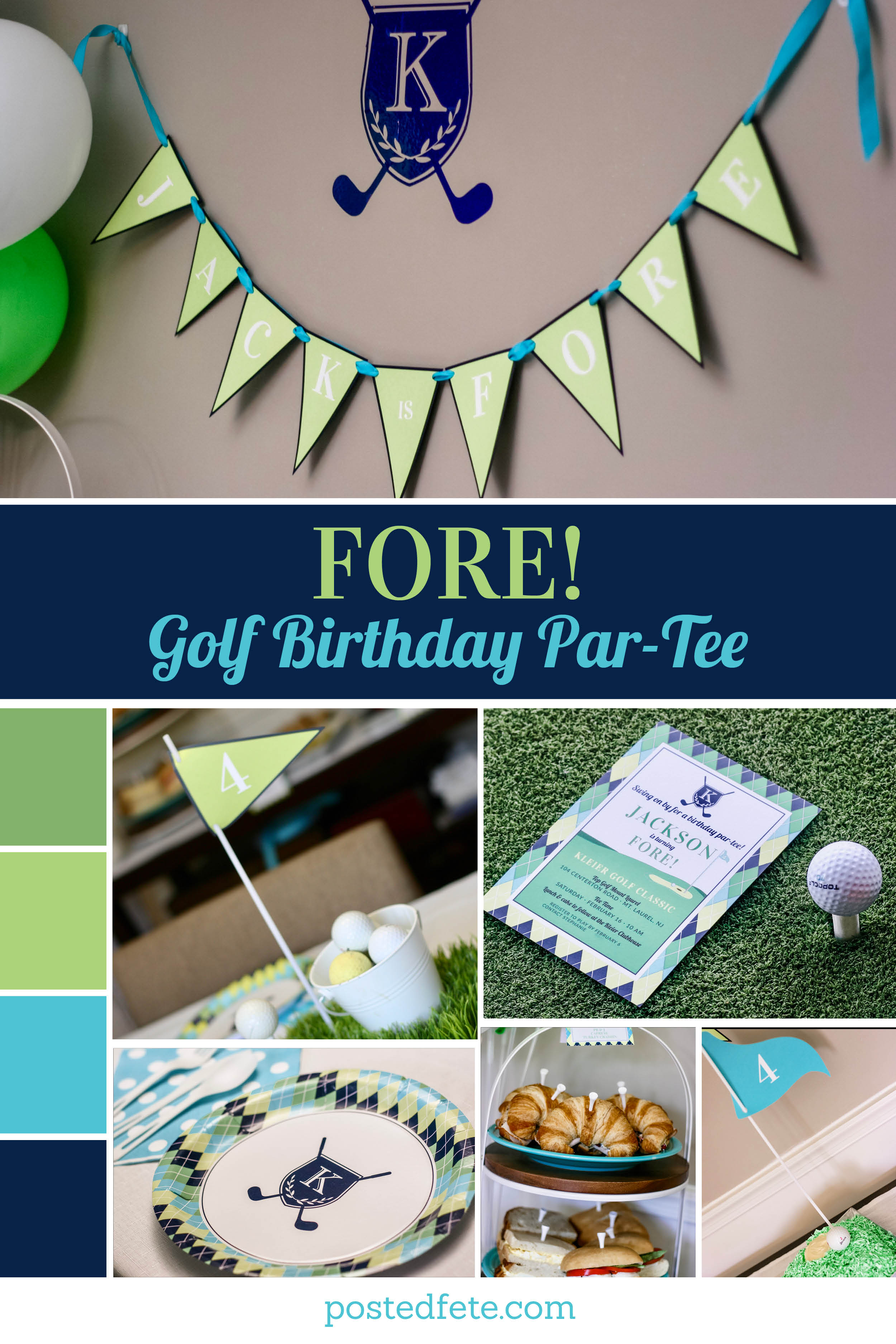 FORE! Golf party decorations and ideas for a hole in one, fore or golf par-tee | by Posted Fete | #golfparty
