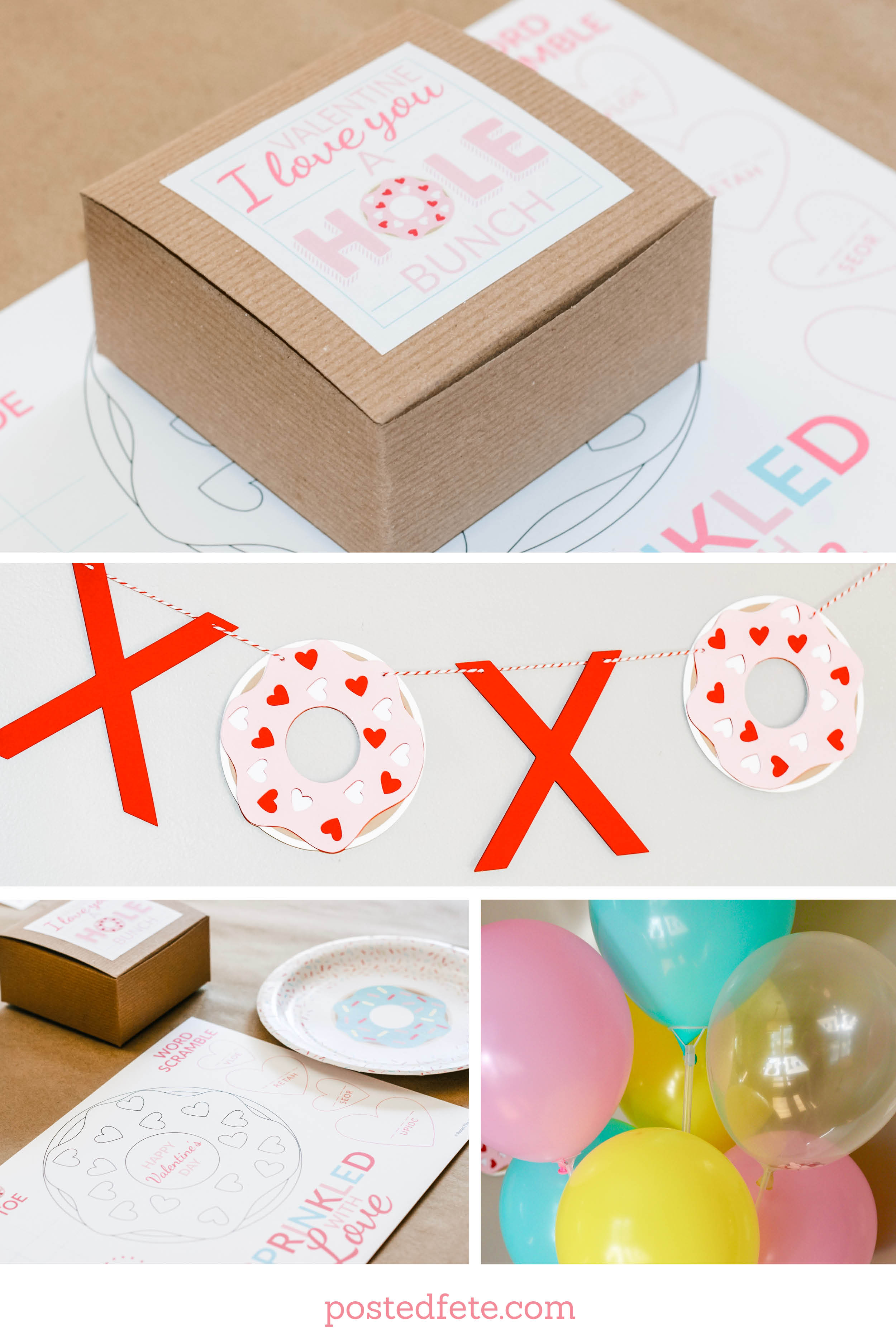 Sprinkled with Love Valentine's Day Breakfast Party Decorations | XOXO Banner, Donut Box, Balloons, and Coloring Page.