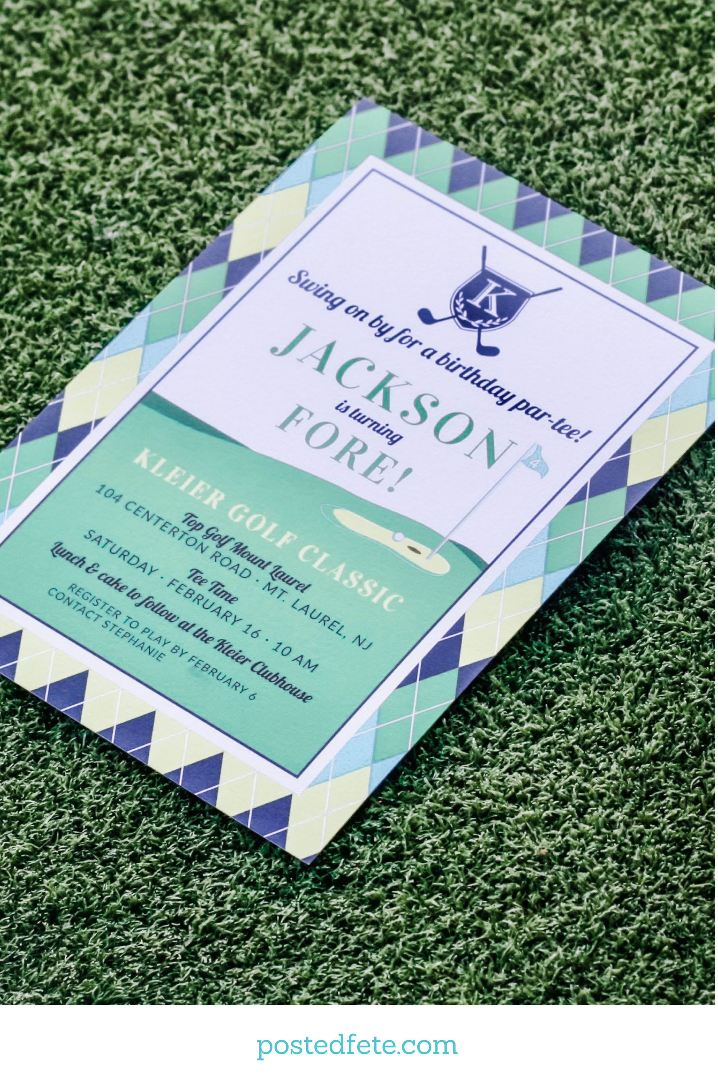 Argyle golf party invitation for a hole in one first birthday, or a golf themed Golf Fore Birthday. | By Posted Fete | #golfparty