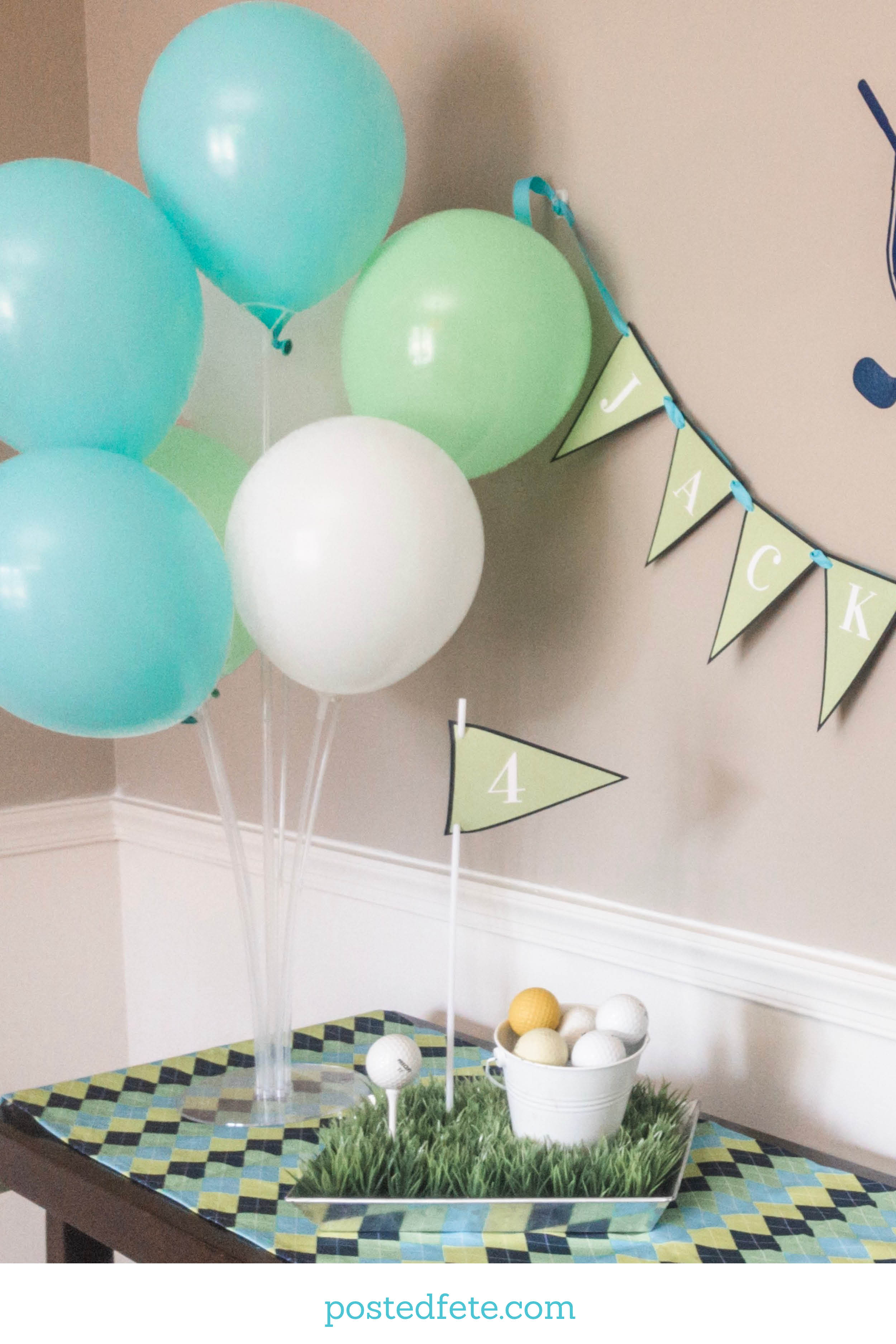 Golf Party Theme Decorations and Ideas - Balloon Sticks and stand decoration, argyle table runner and golf themed centerpiece idea | By Posted Fete | #holeinone